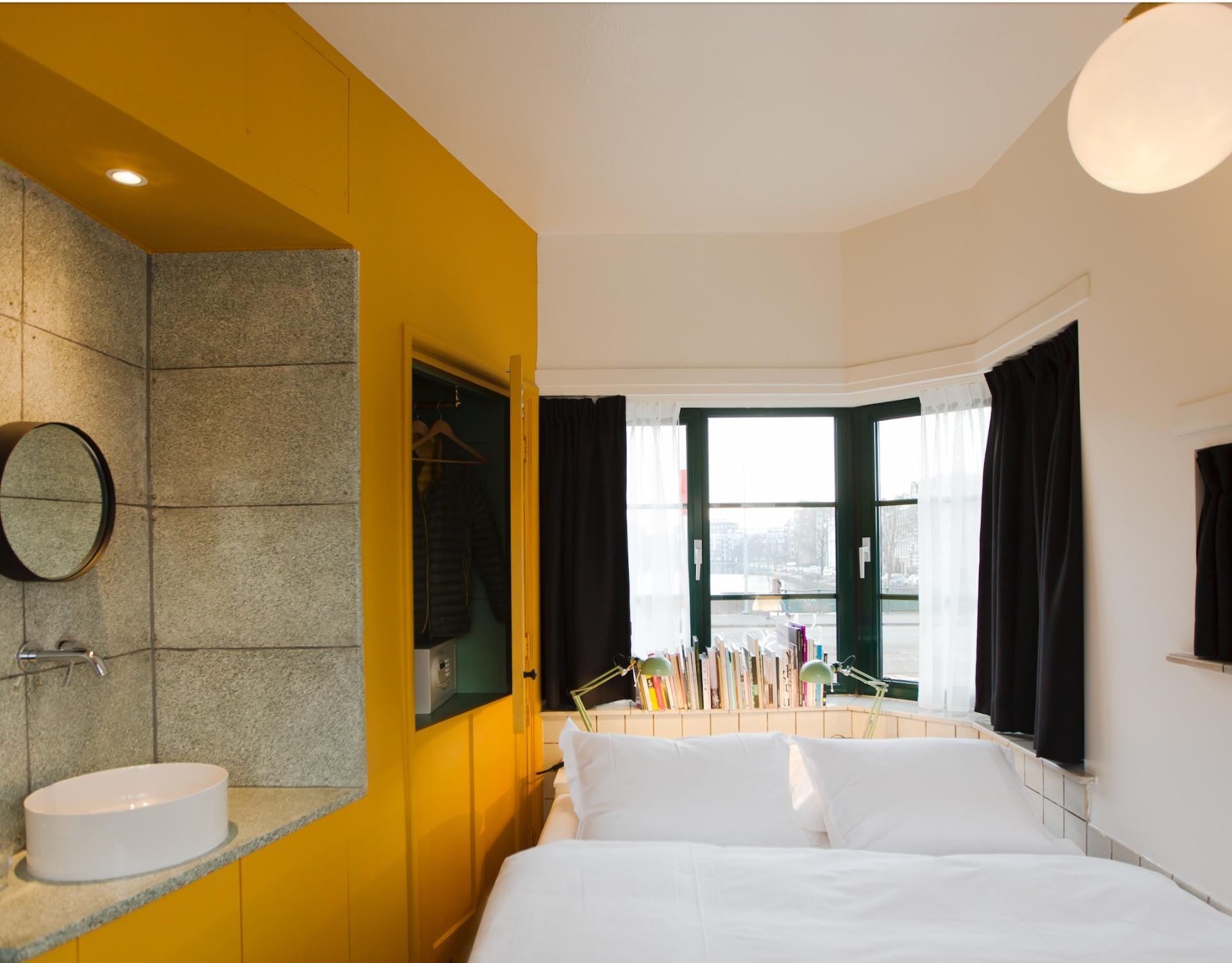 tiny hotel room on a bridge amsterdam sweets hotel